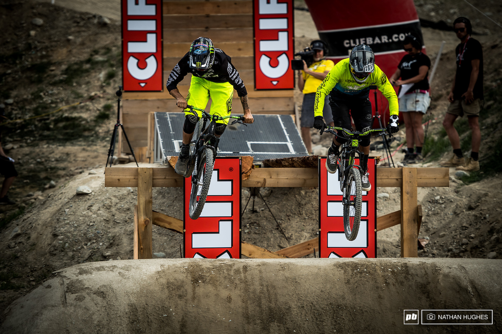 The new Clif start gate allowed riders to stomp about 3 pedal strokes before dropping onto the dirt.