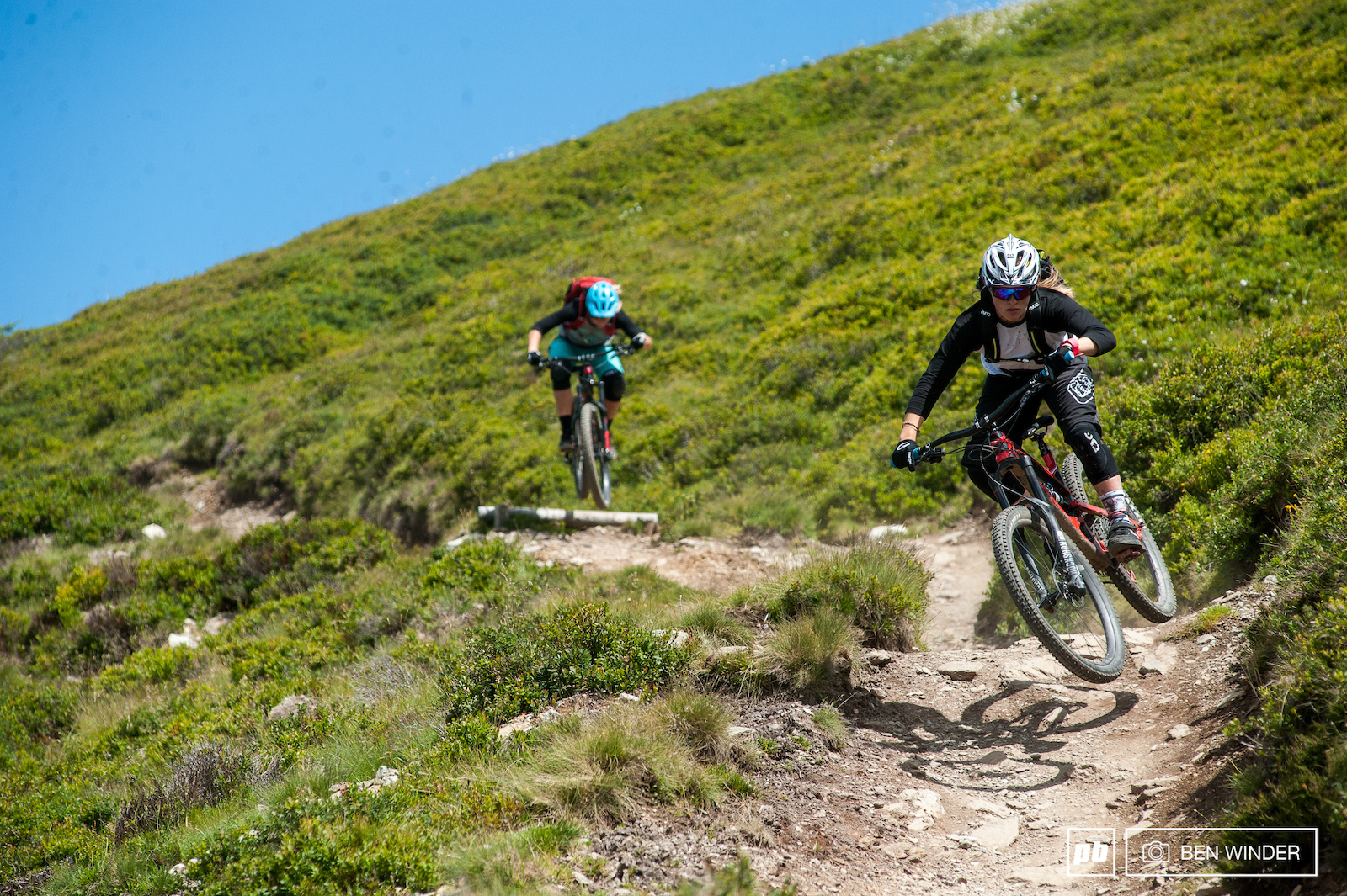 Vali Holl leading Kathi out on one of the enduro trails fast and flowy fun little rises and drops.