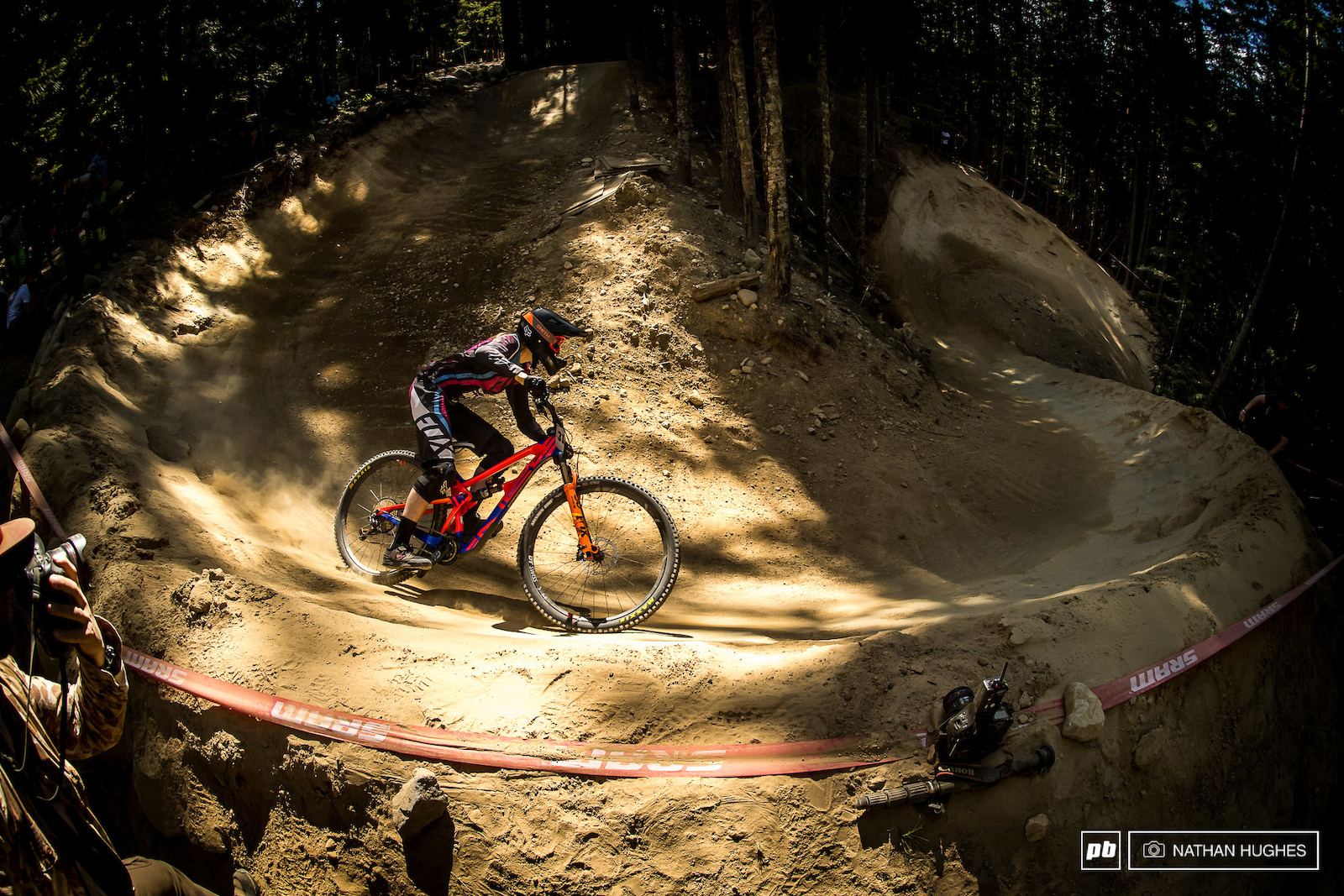 Clare Buchar flying through the giant berms on her way to 7th place.