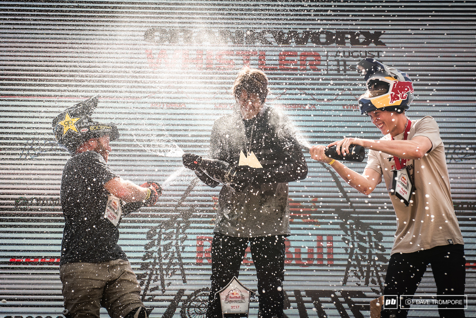The final champagne shower of Crankworx courtesy of Brandon Semenuk Emil Johansson and Ryan Nyquist.