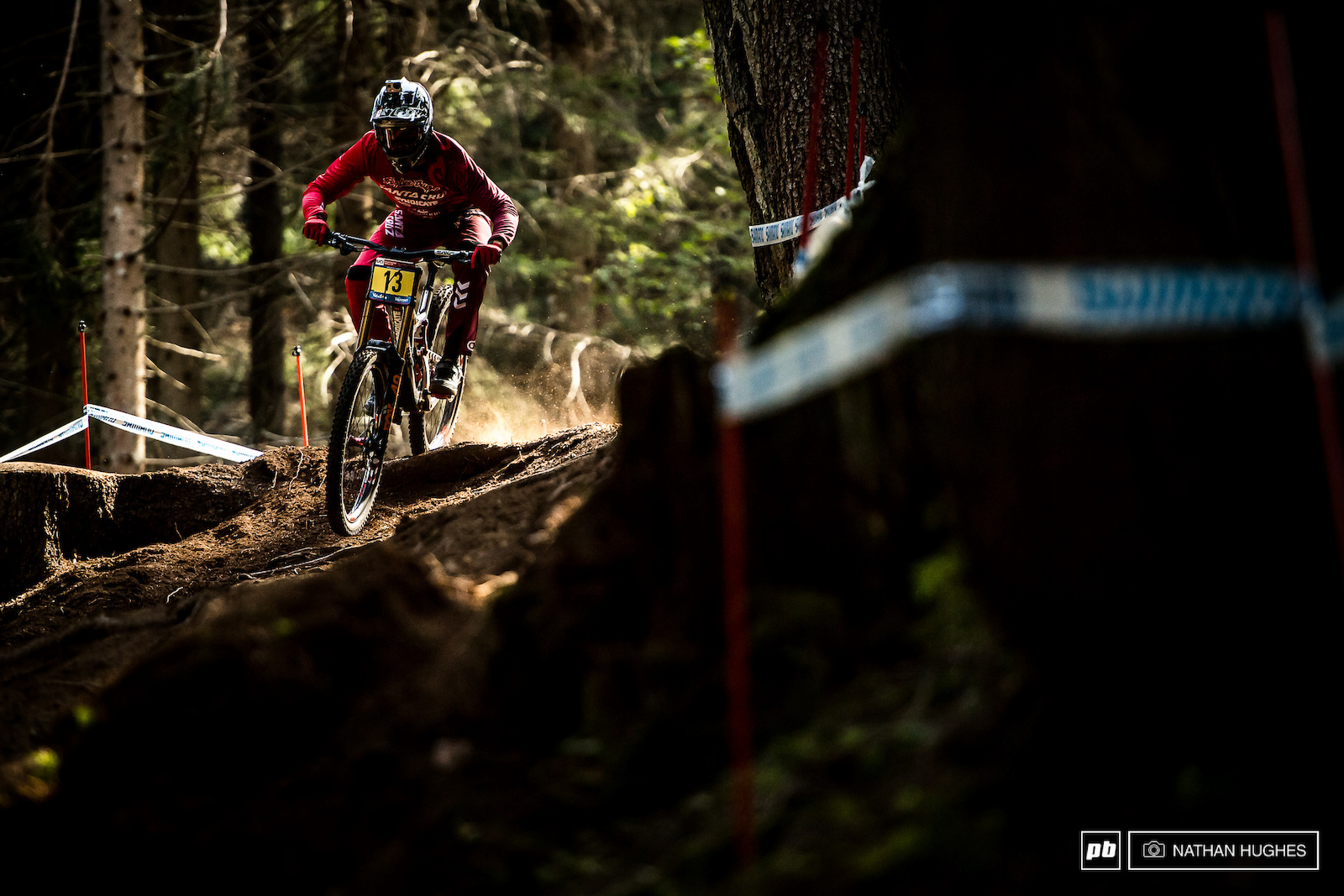 Luca Shaw looking for luck in the loam to counter his plate.