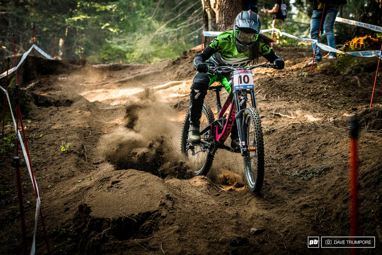 Vaea Veerbeck drifts it through the rough and loamy chute near the top of the track.