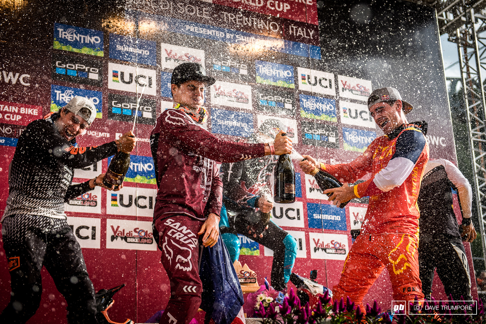 With three Frenchmen on the podium today the champagne toast got a bit out of hand.