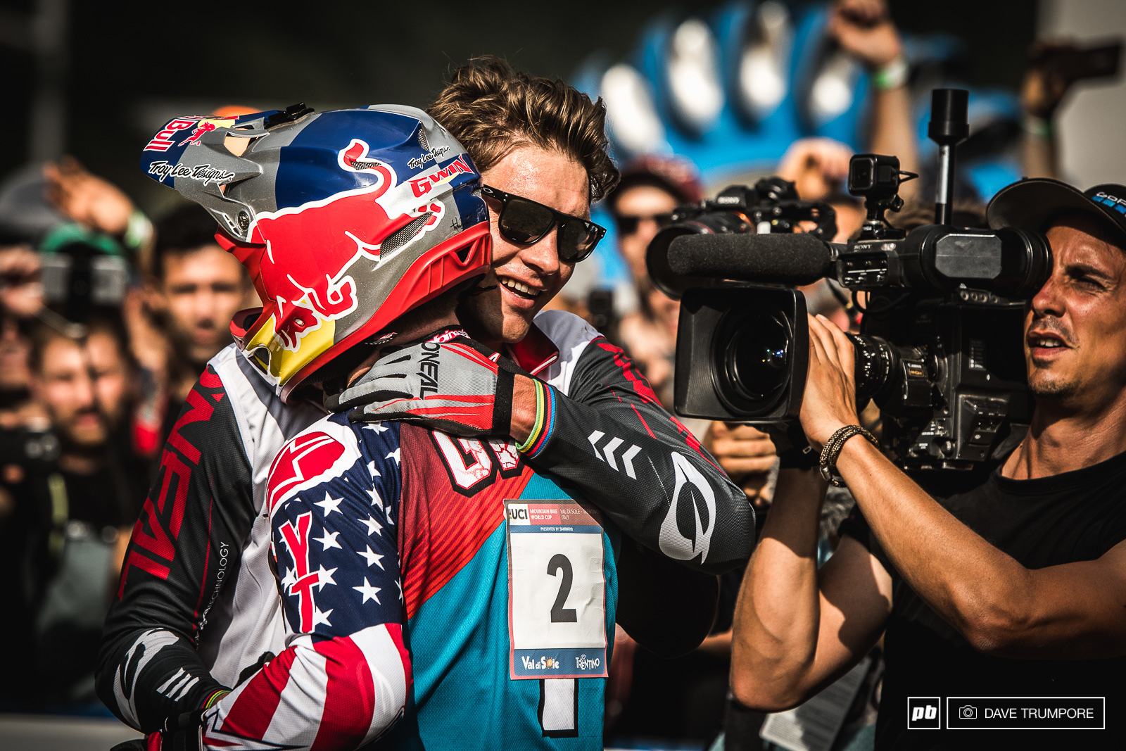 Fierce competitors and true gentlemen. Greg Minnaar congratulates Aaron Gwin at the finish line.