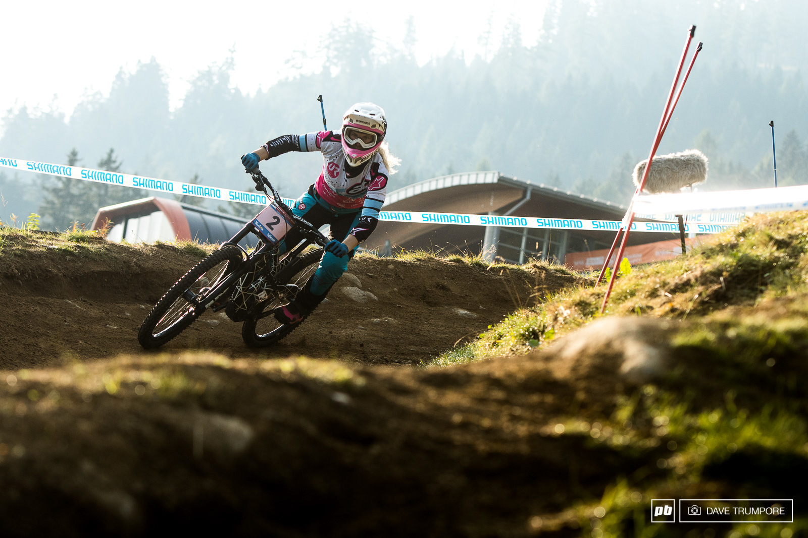 Tracey Hannah struggled wth confidence today after a big crash. She would finish 3rd in the race and the overall.