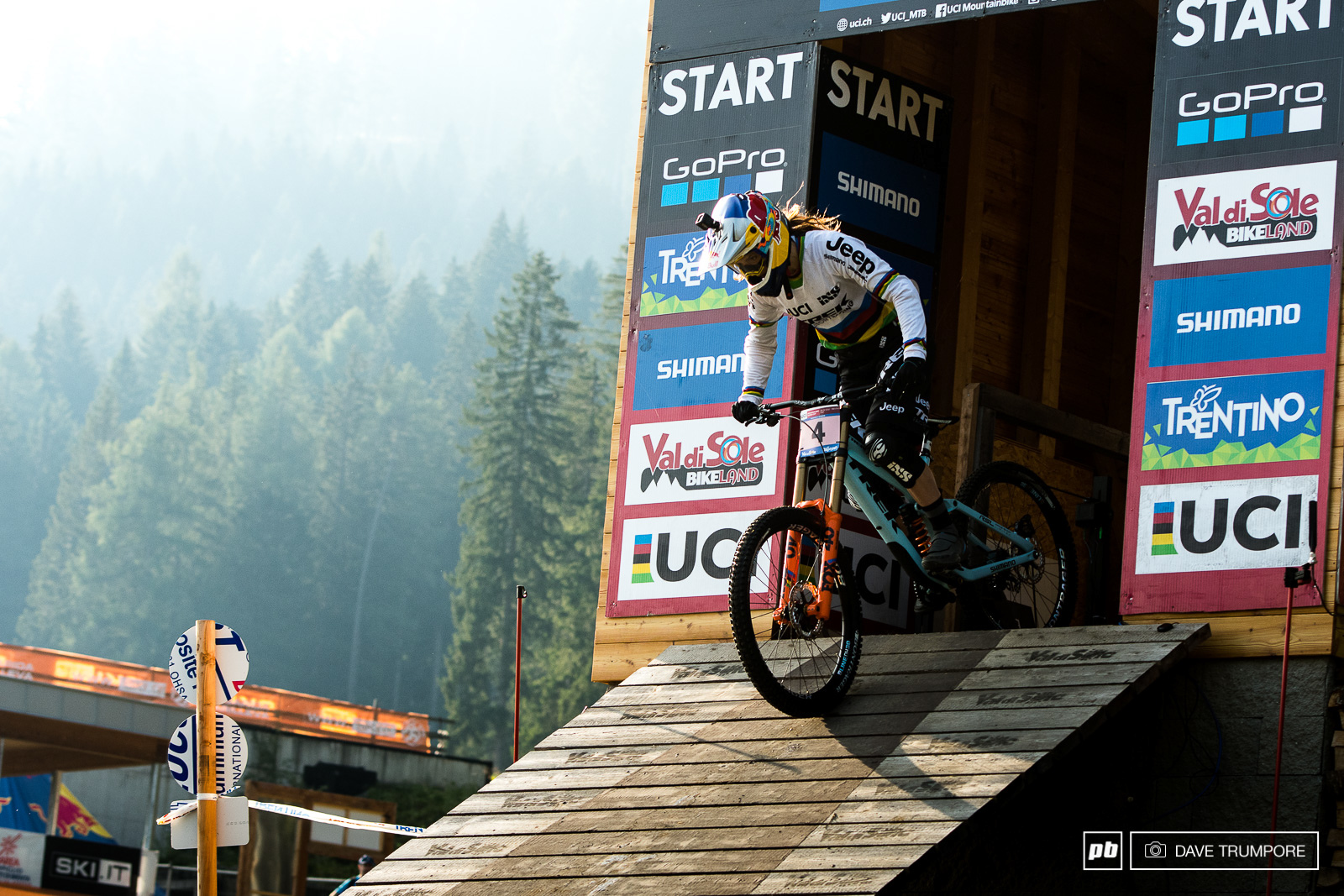 Rachel Atherton rolls out of the start gate for the final WC race of the season.