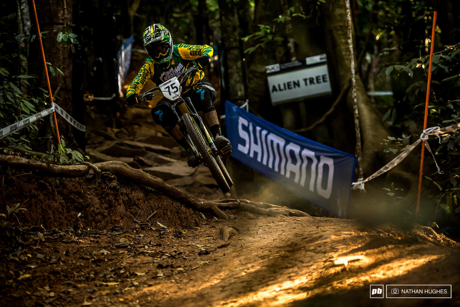 It s not just the flat sections where Hill is making the trail bike sing... Are we looking at one hell of a send off for the DH legend