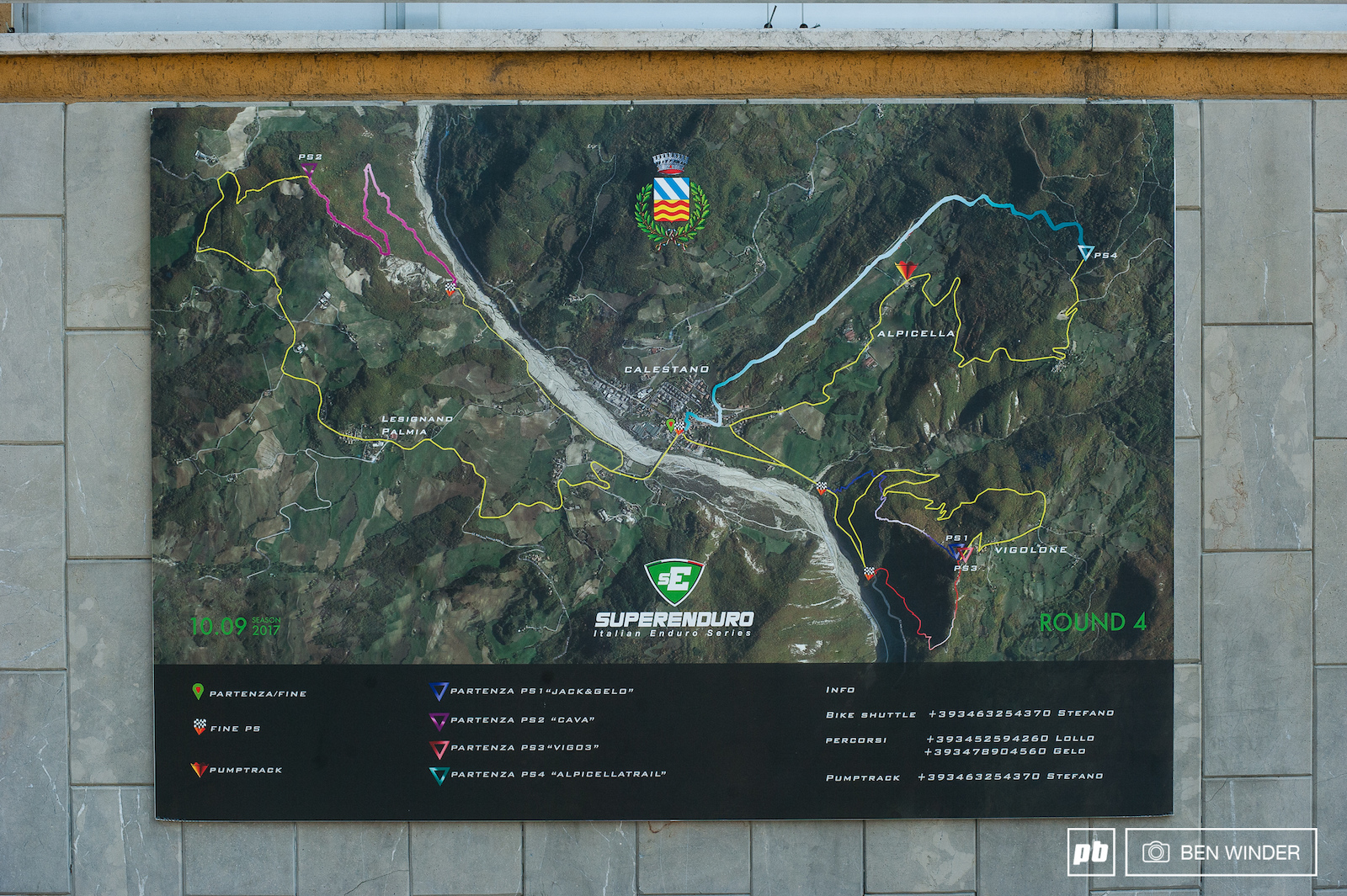 Stage map is pinned up in the center of town showing all the stages. There s 44km of riding in total although all the climbs are steady nothing to difficult.