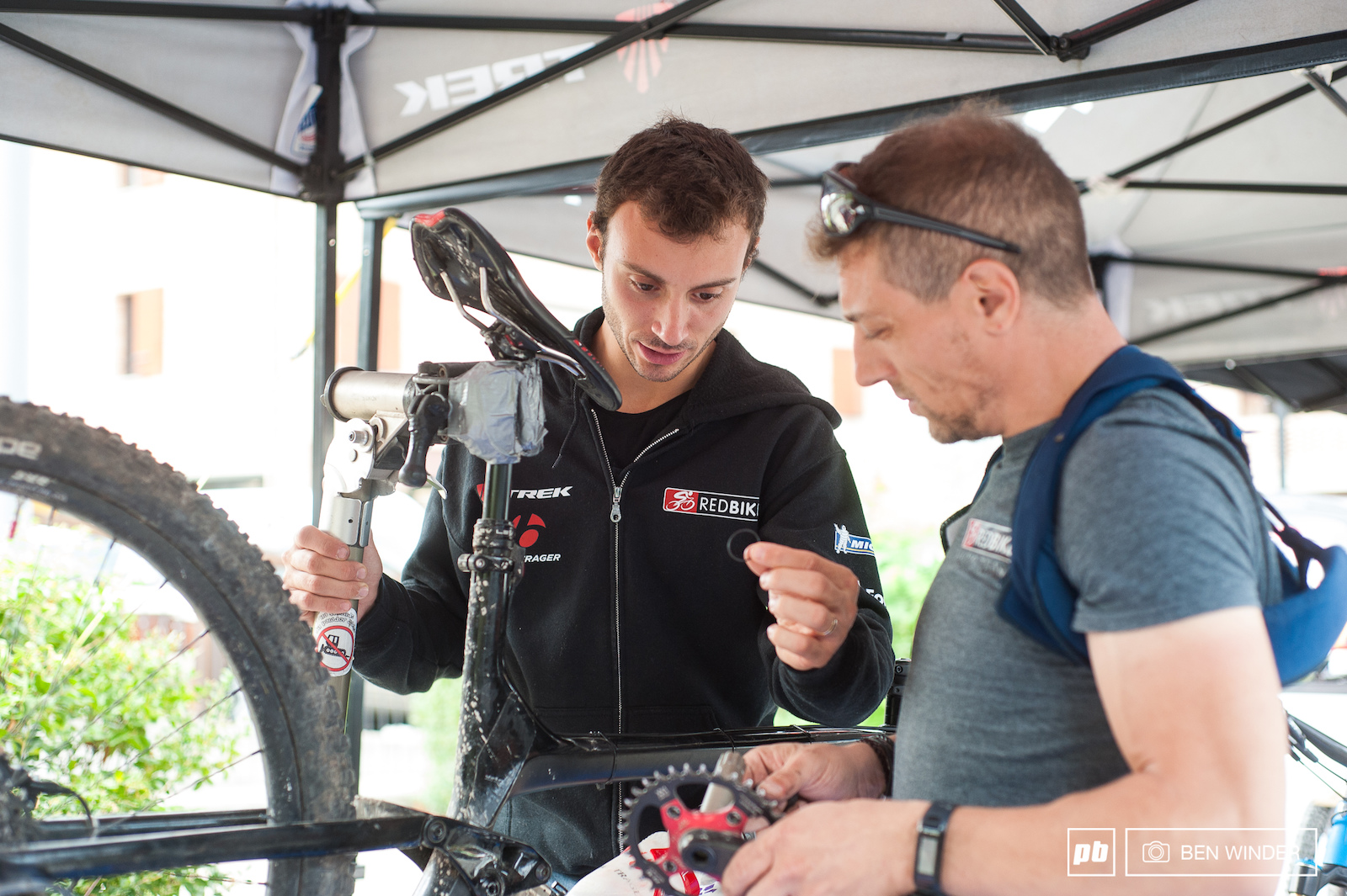 Vittorio Gambirasio appears to be very hands on when it comes to his bike setup.