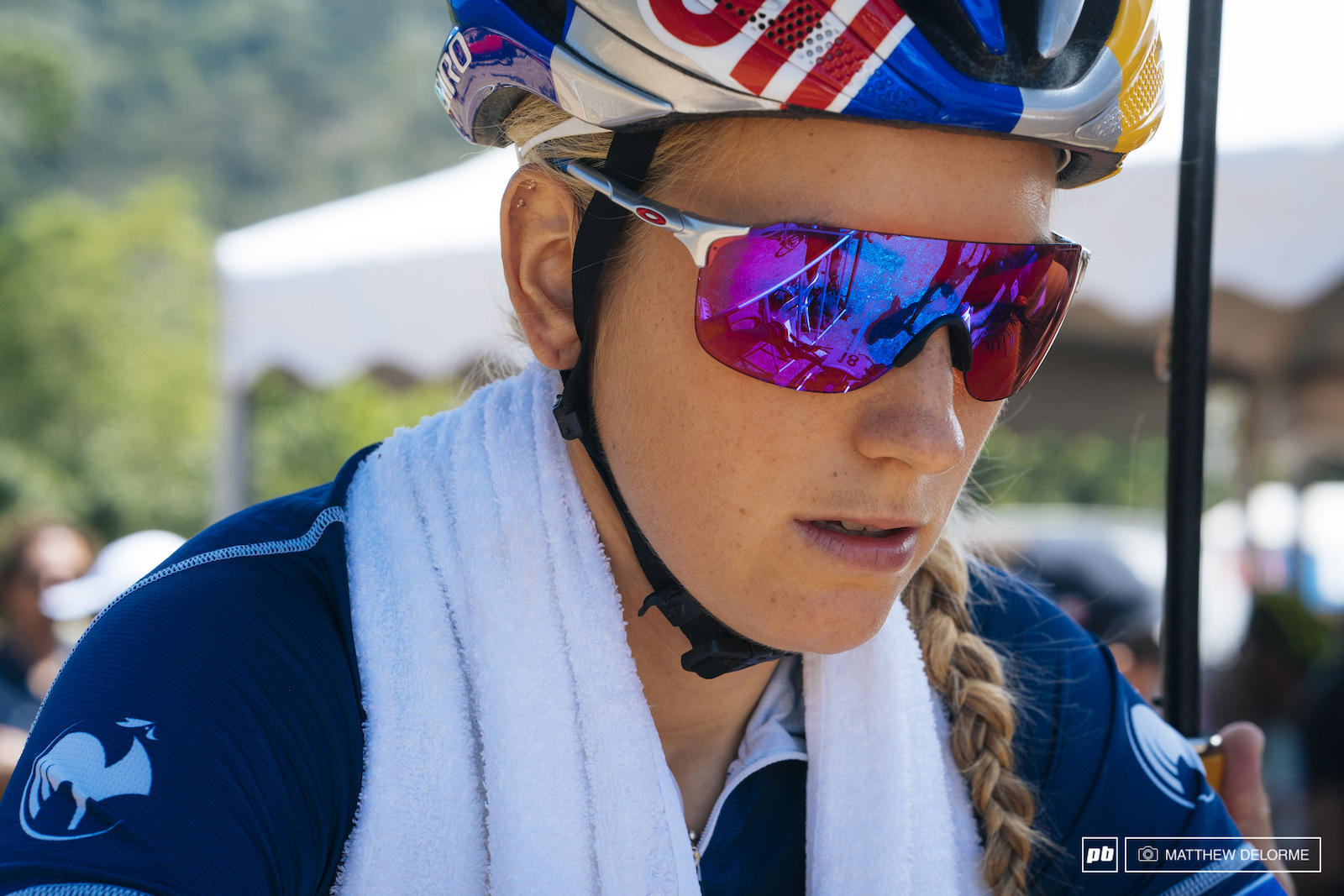 Prevot keeping cool while warming up.