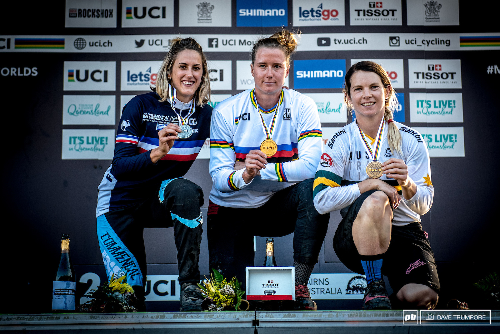 The fastest ladies in the world and their shiny new gold silver and bronze hardware.