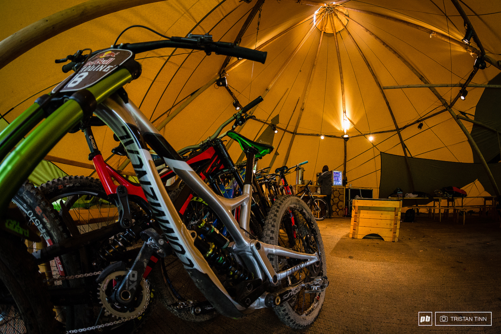 The bikes take shelter from the brewing strorm