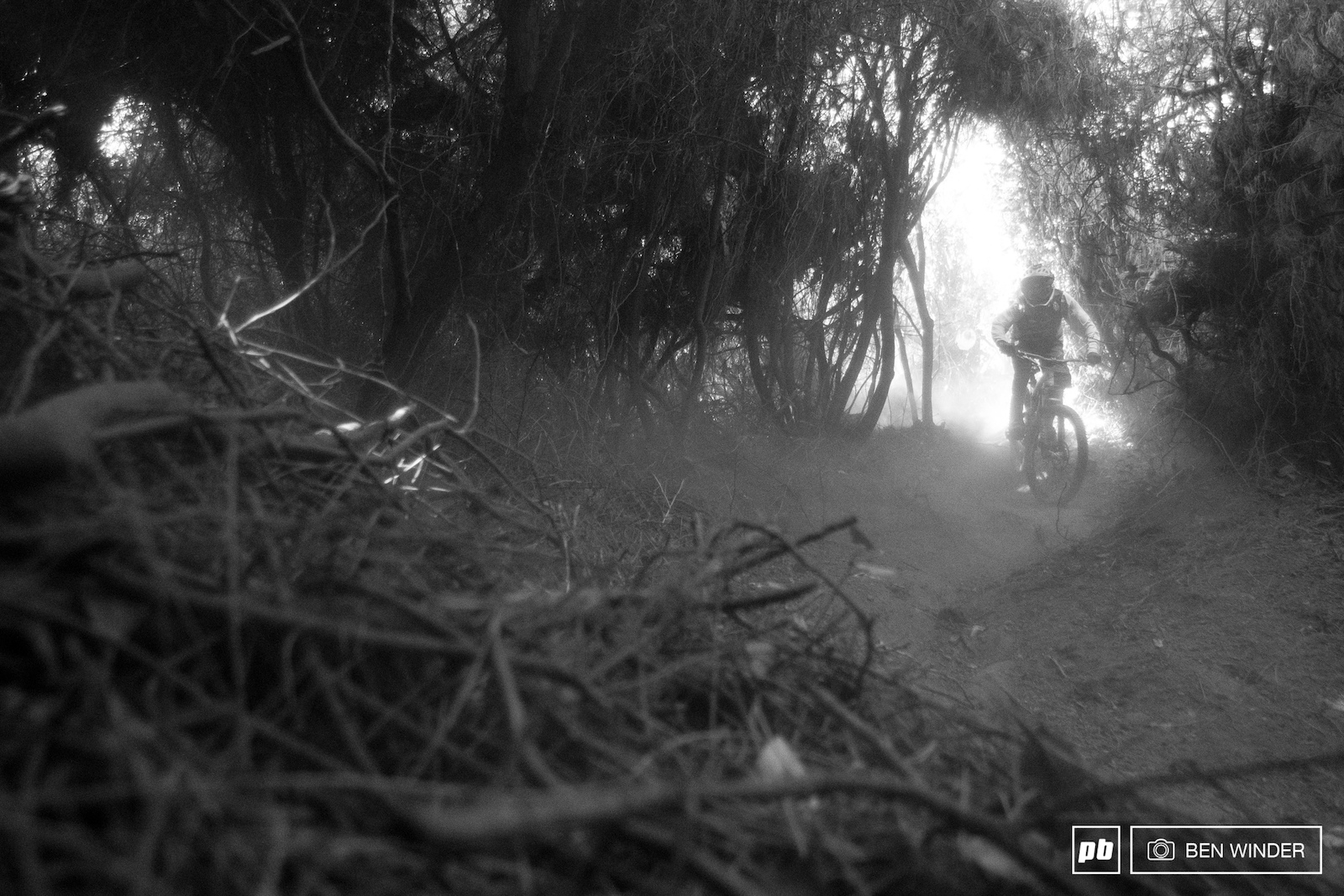 Riders enter this dark section of steep dust on stage three which proves difficult especially following another rider in.
