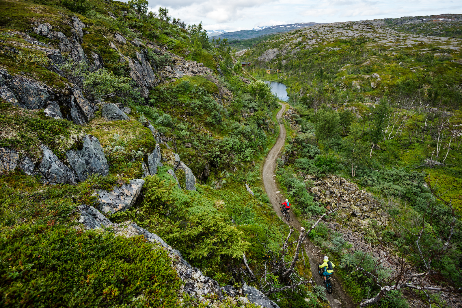 Mikael af Ekenstam and Joey Schulser mountain biking in Bj rnefjell Norway.