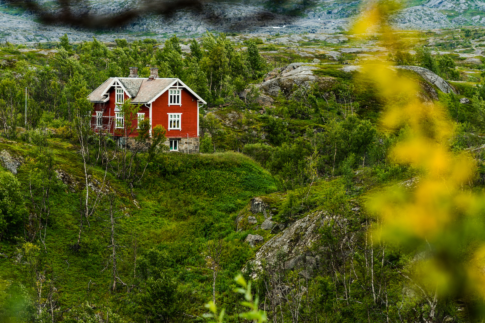 Traditionall norwegian house in Bj rnefjell Norway.