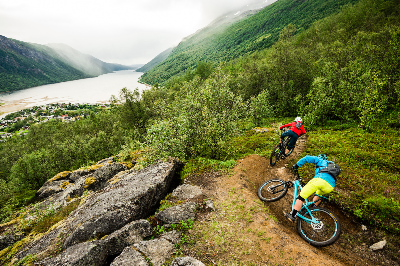 Mikael af Ekenstam and Joey Schulser mountain biking in Beisfjord Norway.