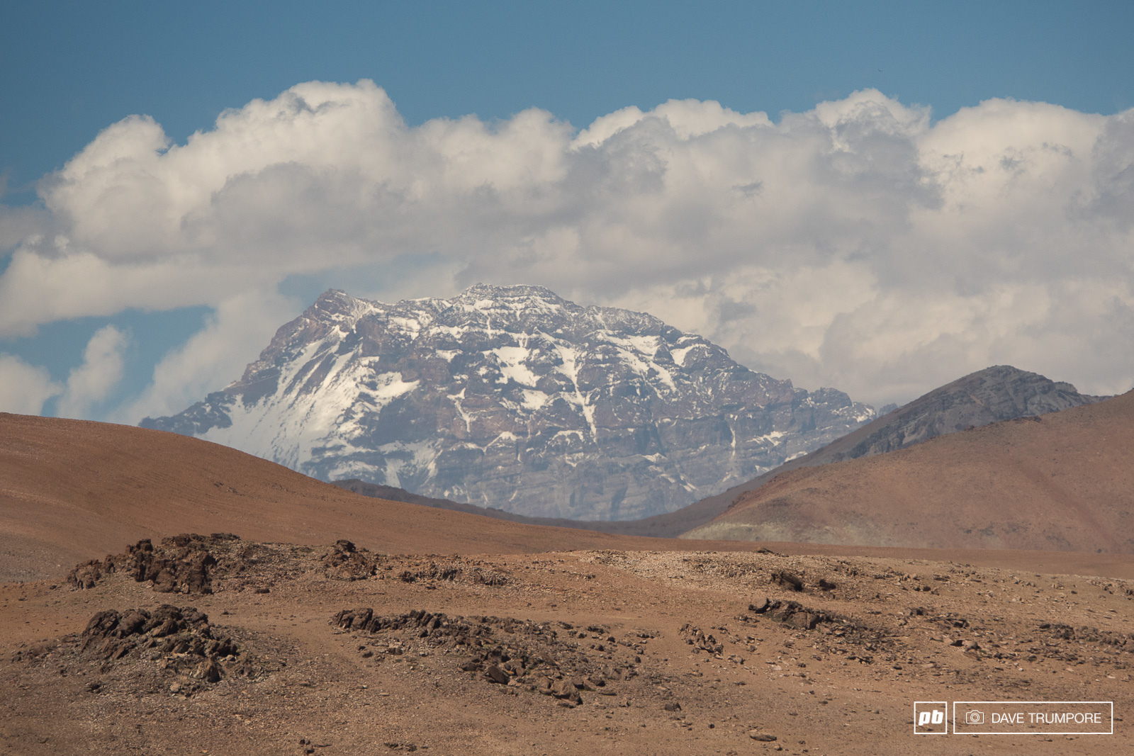 The 6960 meter summit of Aconcagua as seen from the start of Day 3.