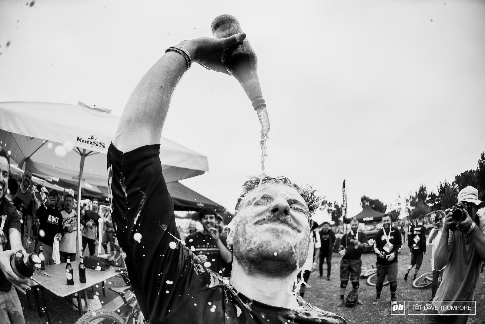 Rather than take the hypothermia plunge into the Pacific Jesse Melamed opted for a shower of cold Chilean beer instead.