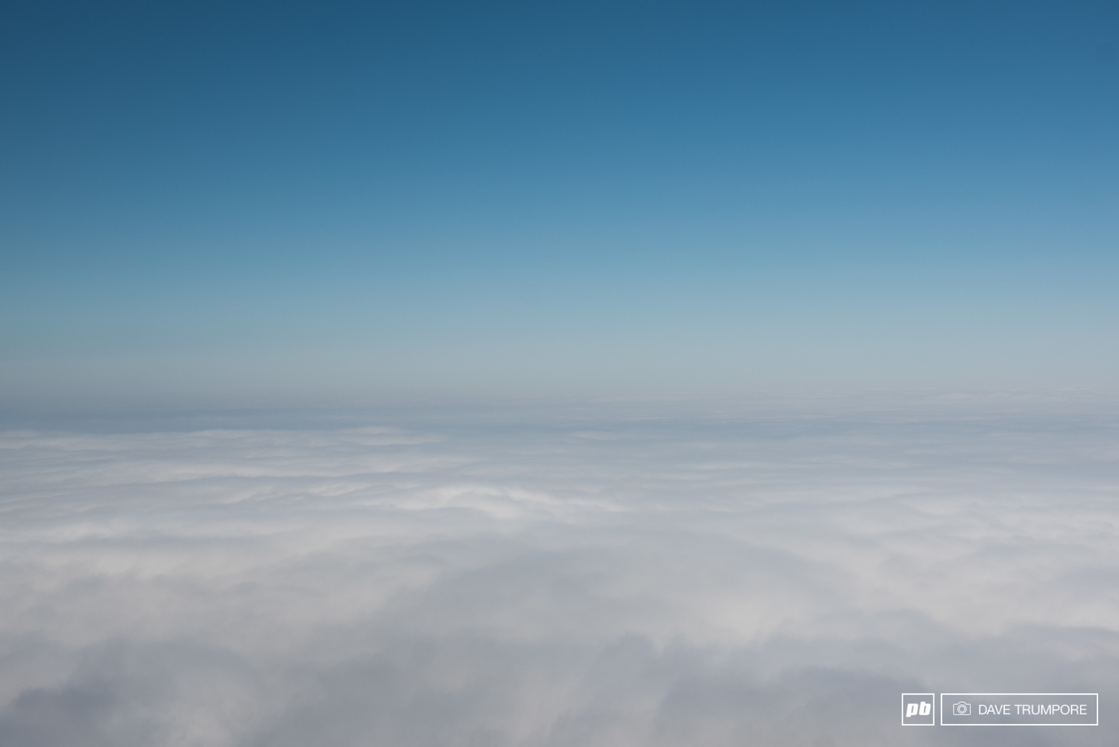 Technically that s a view of the Pacific Ocean though under a sea of clouds from the 700 meter summit of the final stage.
