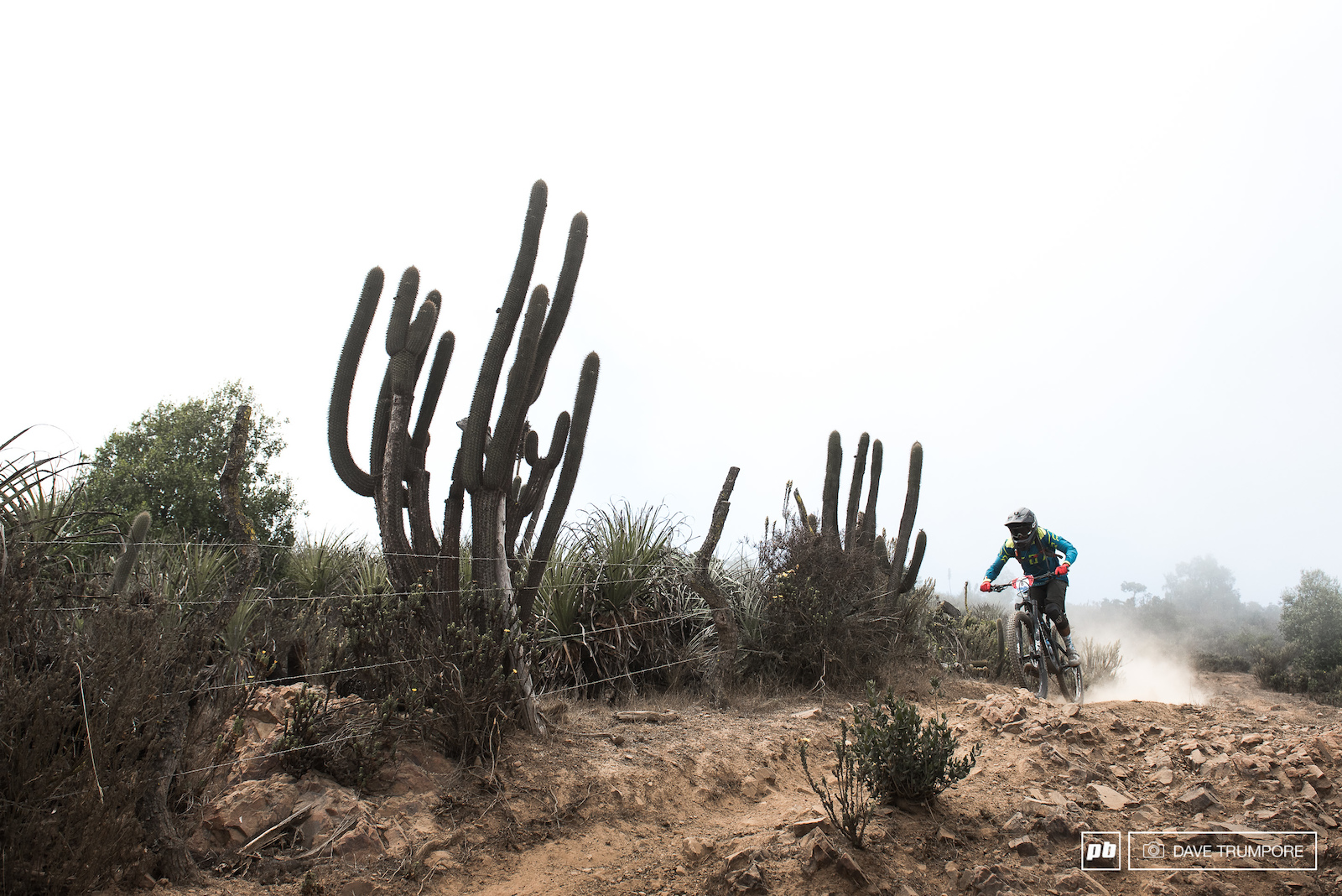 Pablo Maldonado does battle with fog capture barbed wire and sharp loose rocks on Stage 14 en route to 8th overall.