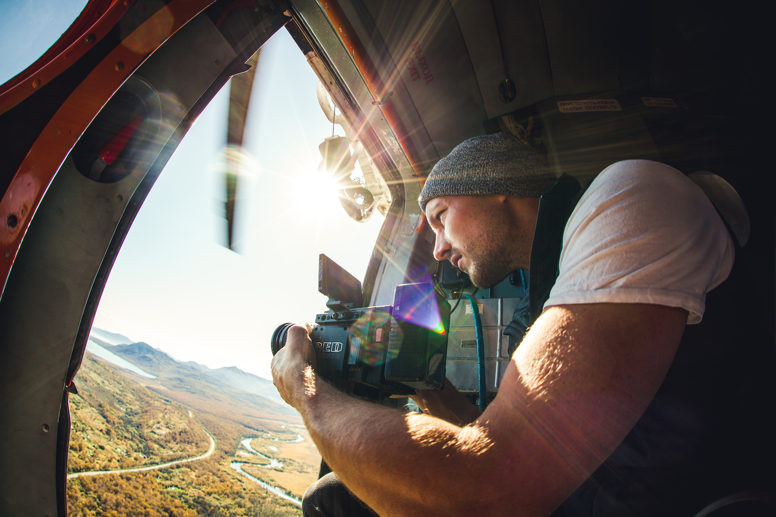 Finger always on the trigger. With that view and the first time in a helicopter we just couldn t stop filming. Photo Constantin Fiene