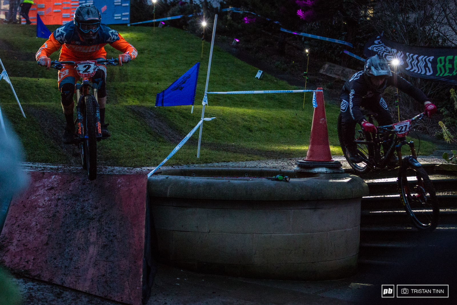 Ben Moore last years runner up battles it out of one of the few hardtails against Jordan Gould