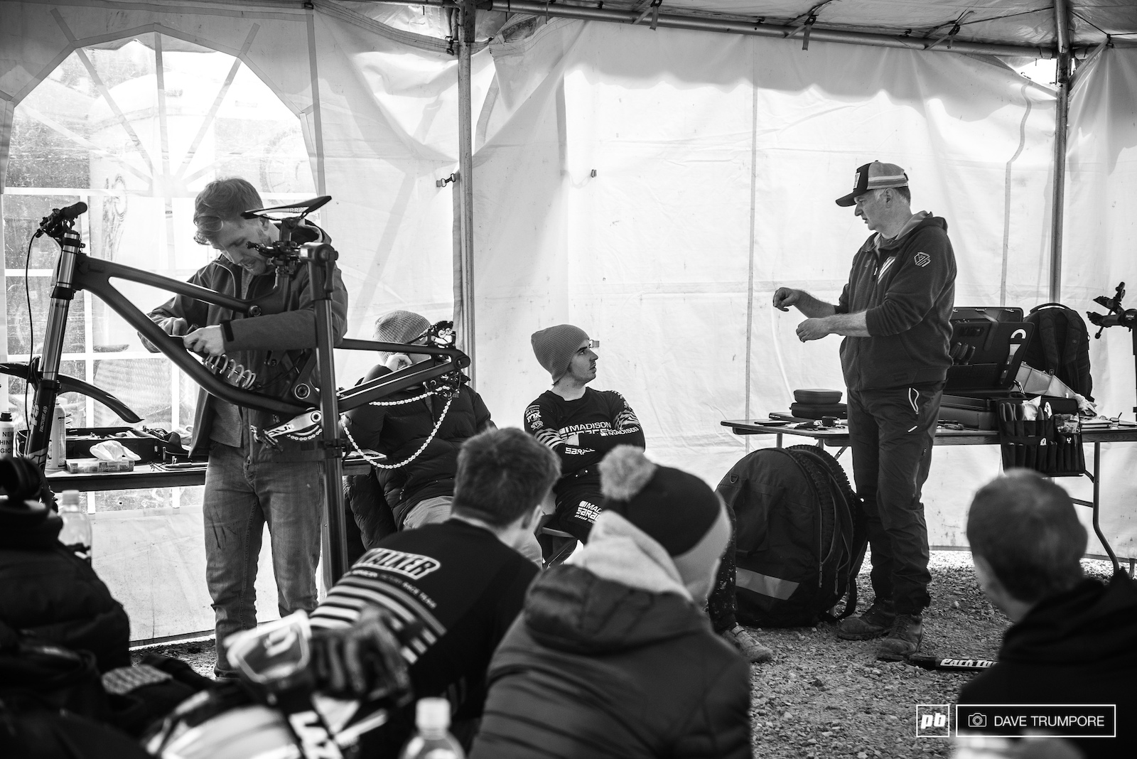 Engineers from Saracen were on site to help Danny Hart and the team get their bikes prepped for the World Cup season.