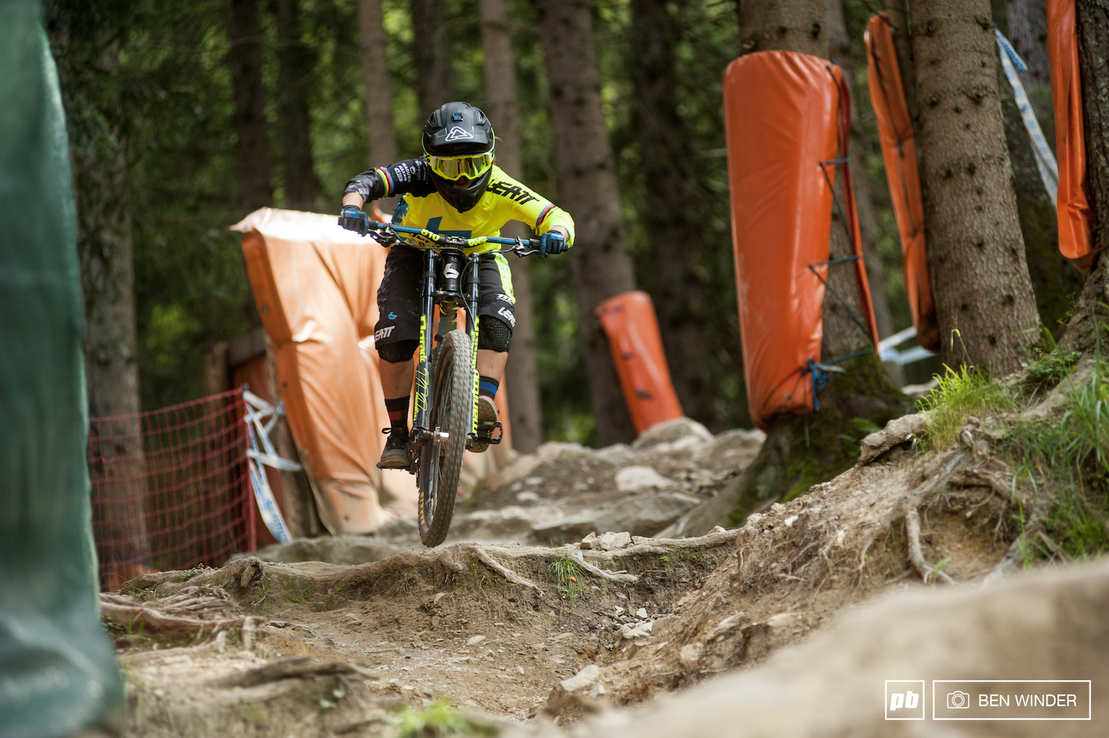 Morgane putting in a run on a course she knows well she won the World Champs here in 2012.