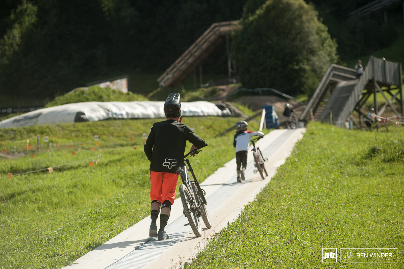 Kids get to experience the fun of a day at the bike park too with this safe and simple magic carpet lift.