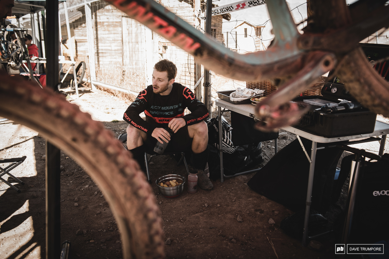 Jesse Melamed carbs up after stage 2 with a bucket of potatoes.