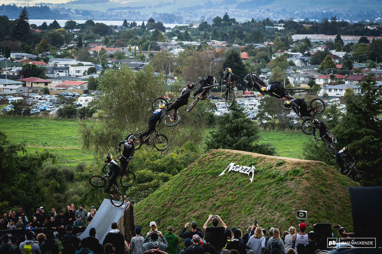 Nicolia Rogatkin winding up his 1440 spin during the last run of Crankworx Rotorua Slopestyle 2018