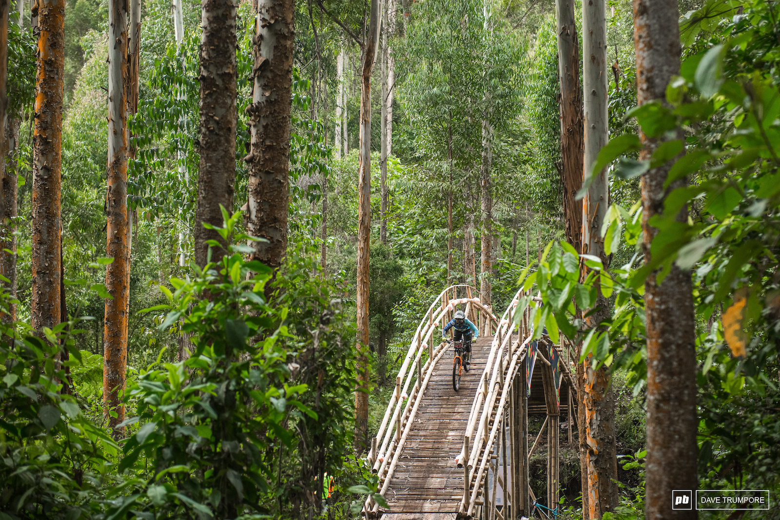 Noga Korem drops in to one of three huge bamboo bridges that crisscross the road on stage 3.