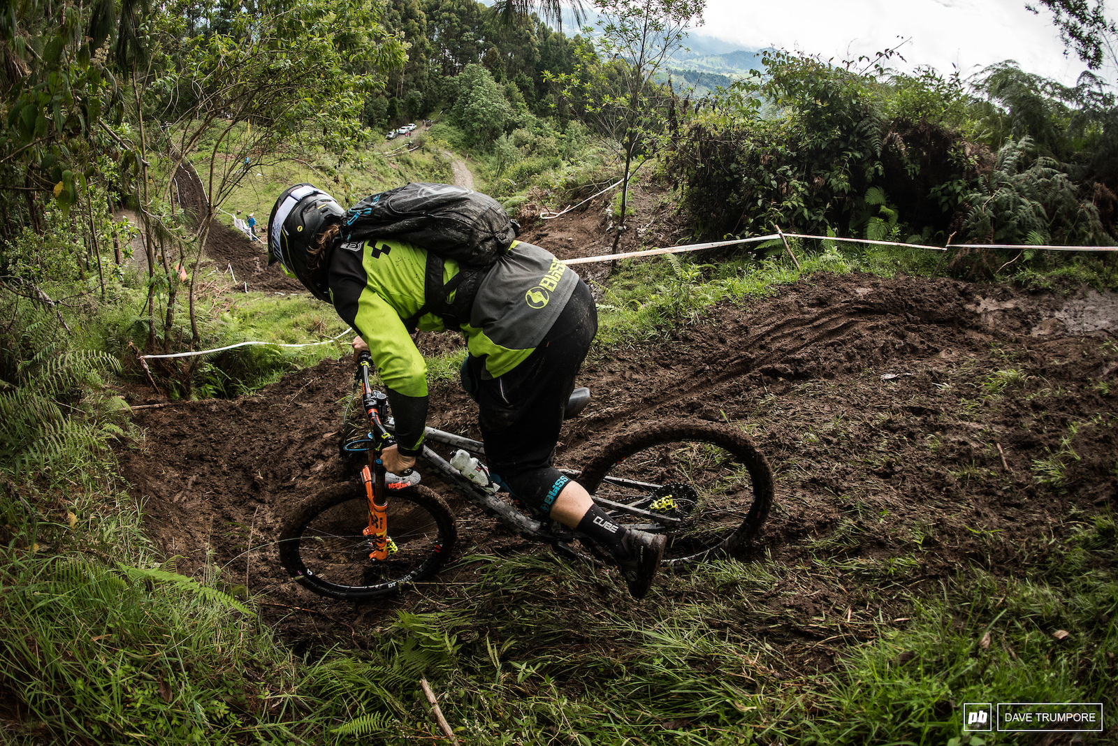 Matt Walker cuts to the inside line while trying to avoid the monster ruts on stage 2.