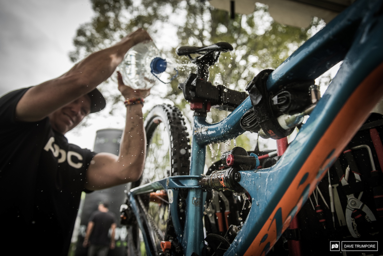 With a massive bike wash line and lack of hoses on the pits the mechanics had to improvise in order clean drivetrains during the racers one pit stop of the day.
