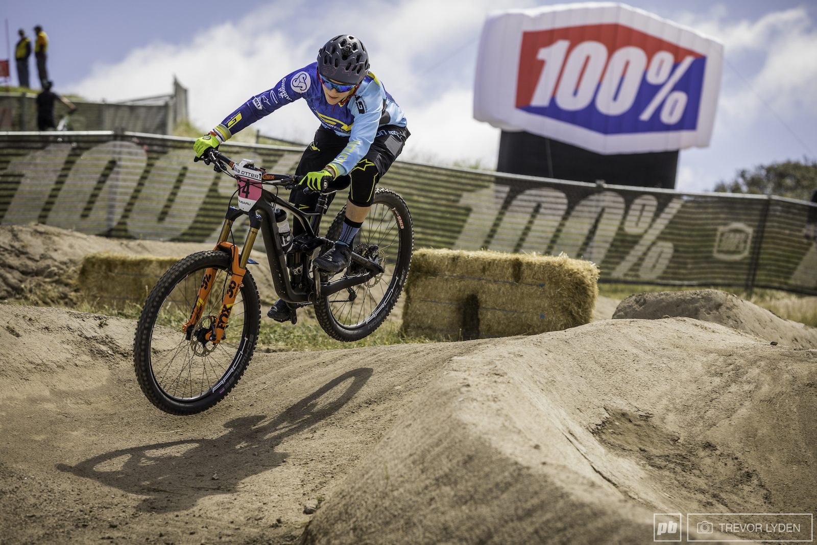 Noga Korem going 100 on the dual slalom stage of the enduro.
