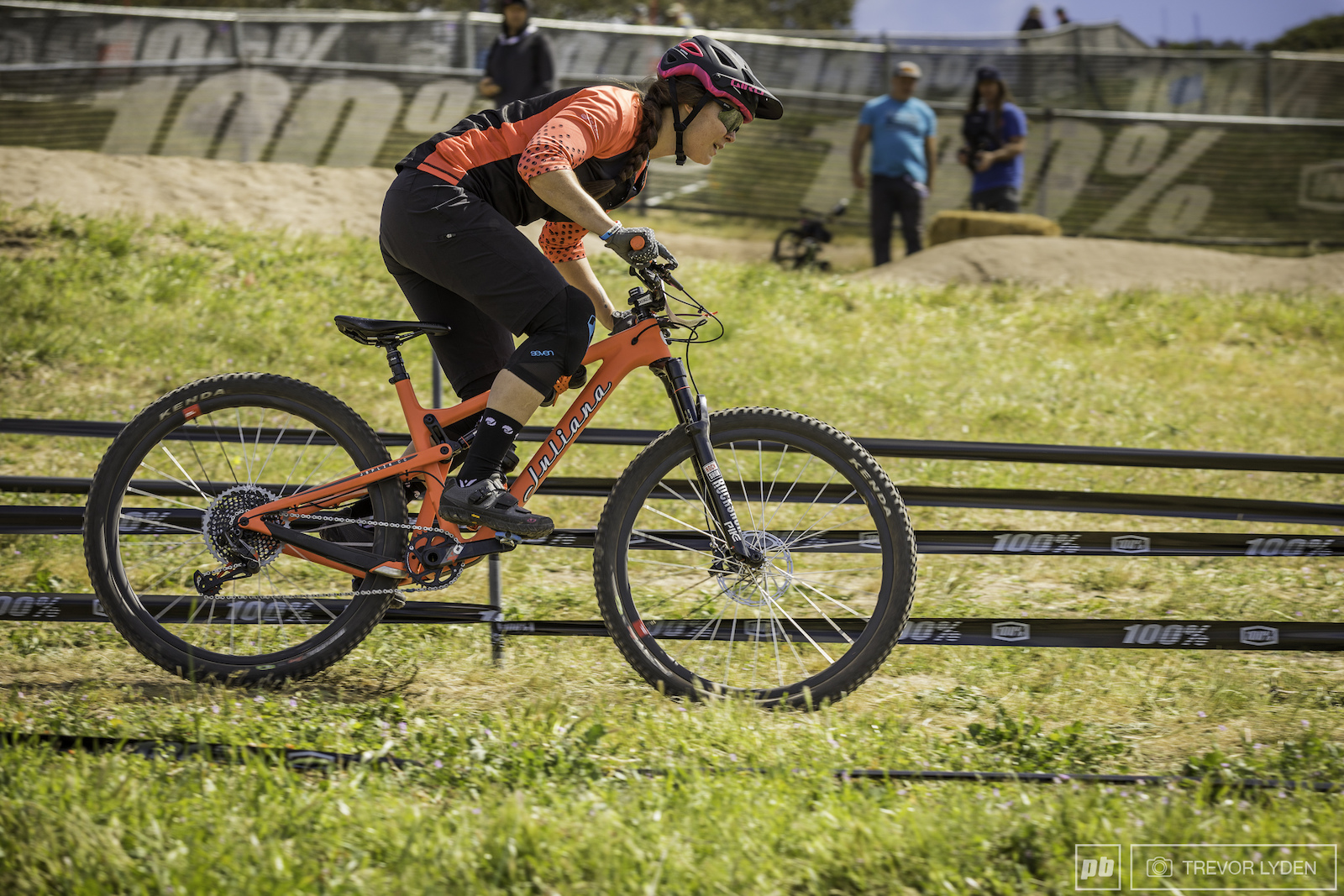 Even with stage 4 on the dual slalom track riders like Ileana Anderson still had to get on the pedals for the quickest times.