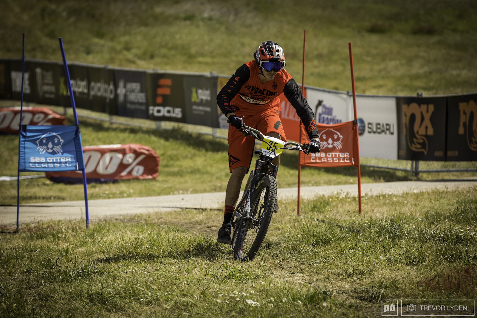 Tristan Hunter sprinting on stage 4 which had riders winding down through the dual slalom course.