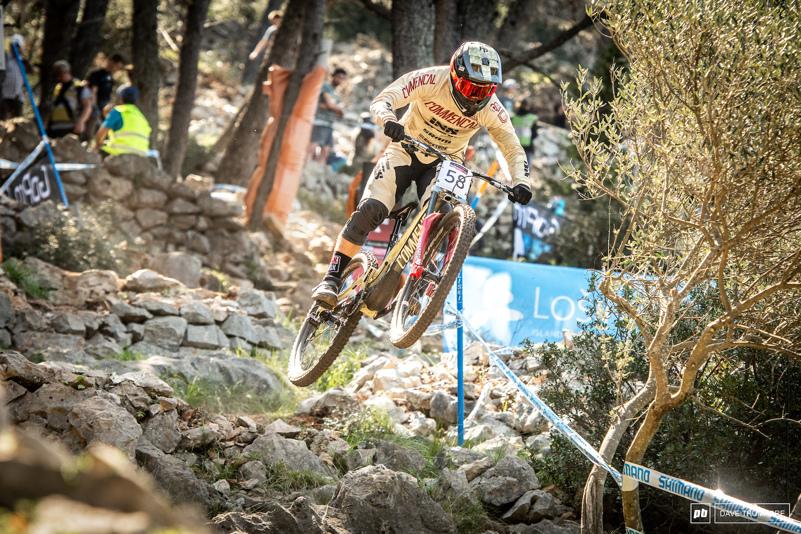 Remi Thirion with the racer style in a section that saw most people having to pull extra hard to clear the big gap.