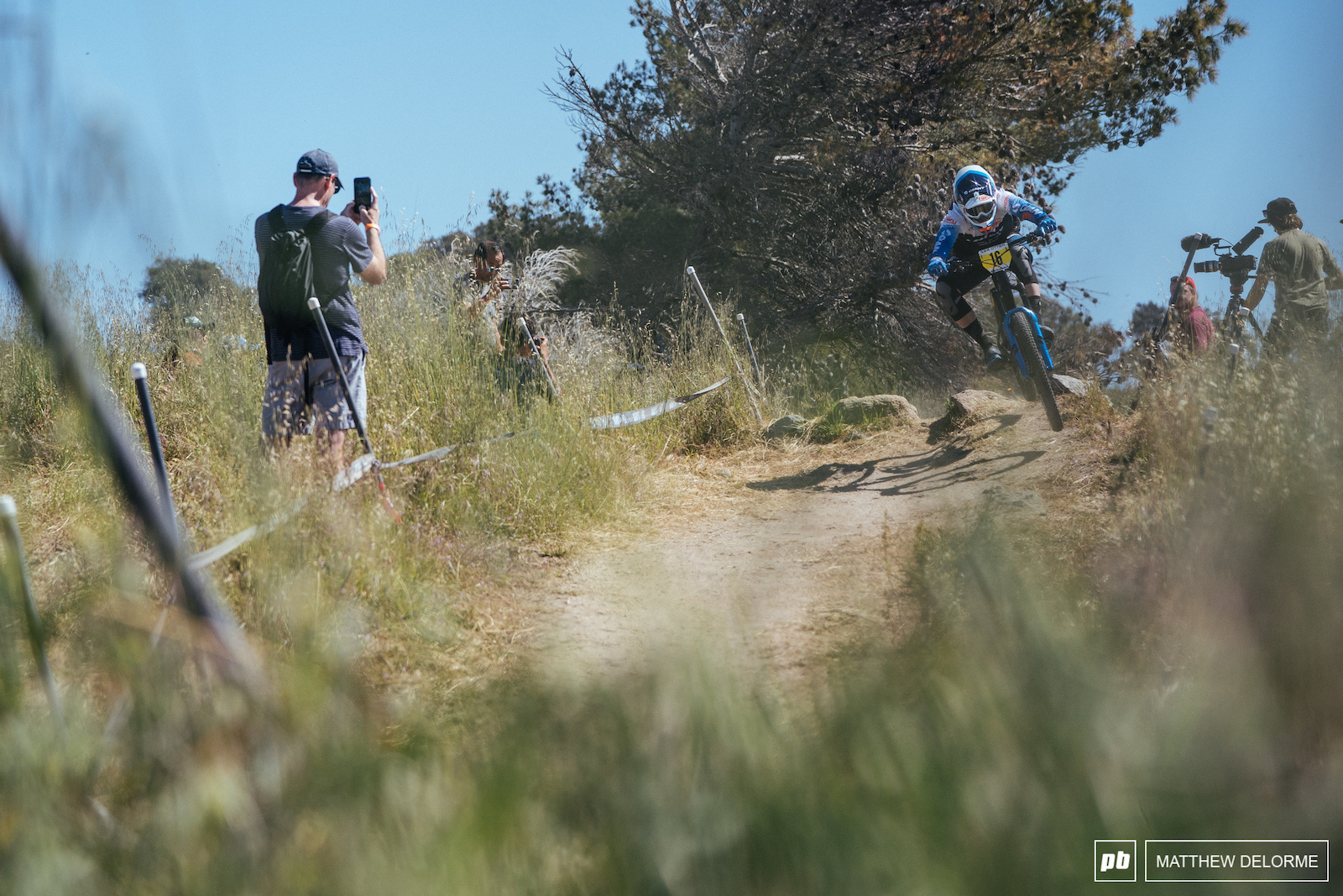 Josh Carlson on his way to fourth place at the Sea Otter DH.
