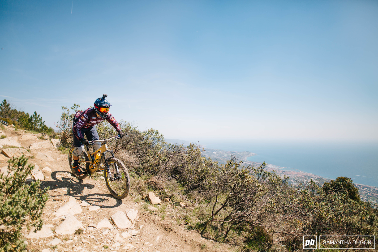 Renowned for it s panoramic views riders try and keep their eyes on the track whilst heading down stage 1.