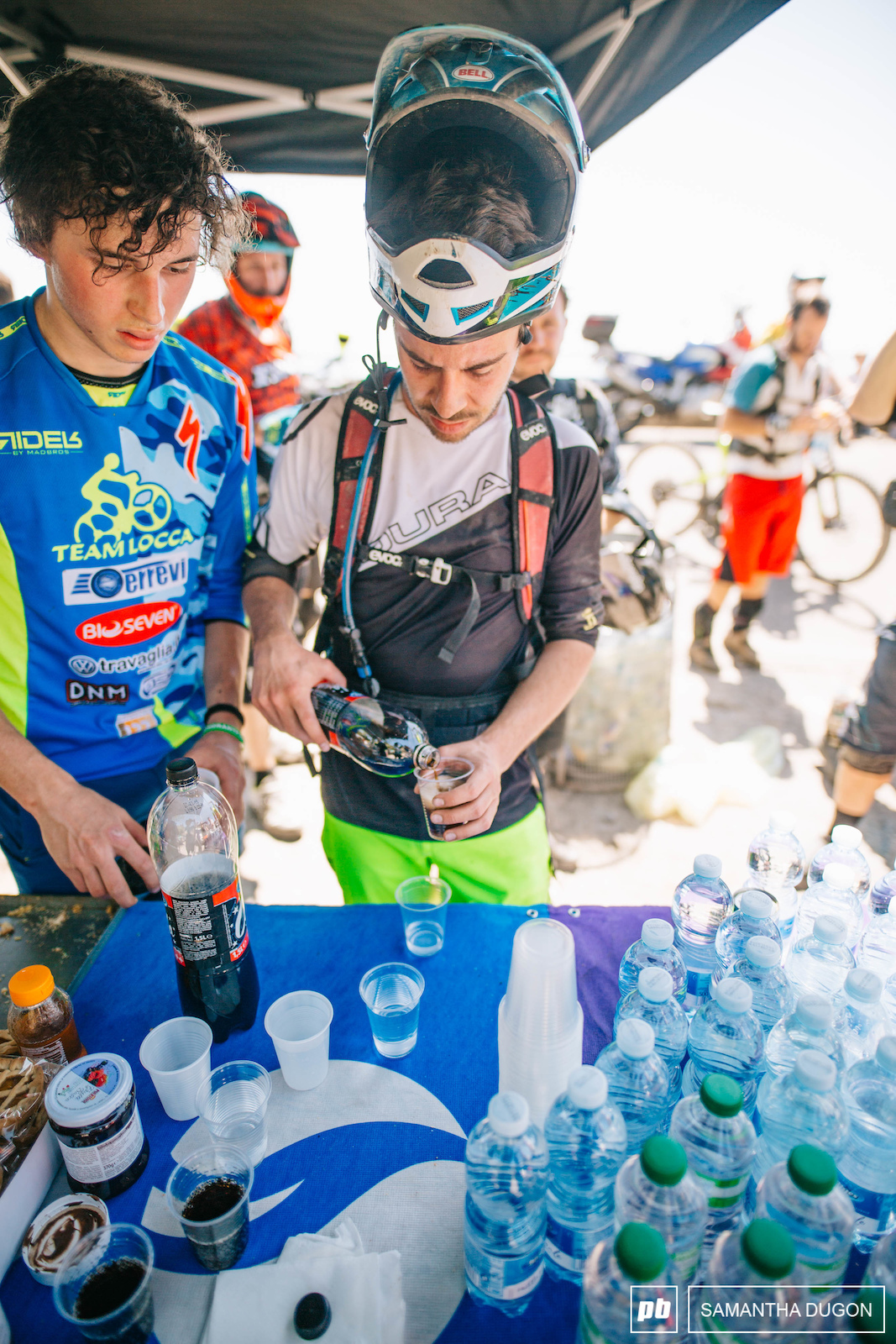 The feed station didn t see a quiet period all day long with riders quickly rehydrating and fuelling up on some essential sugars.