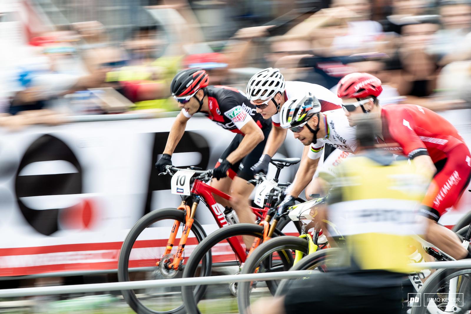 Gaze Schurter Van der Poel and Indergand take off.