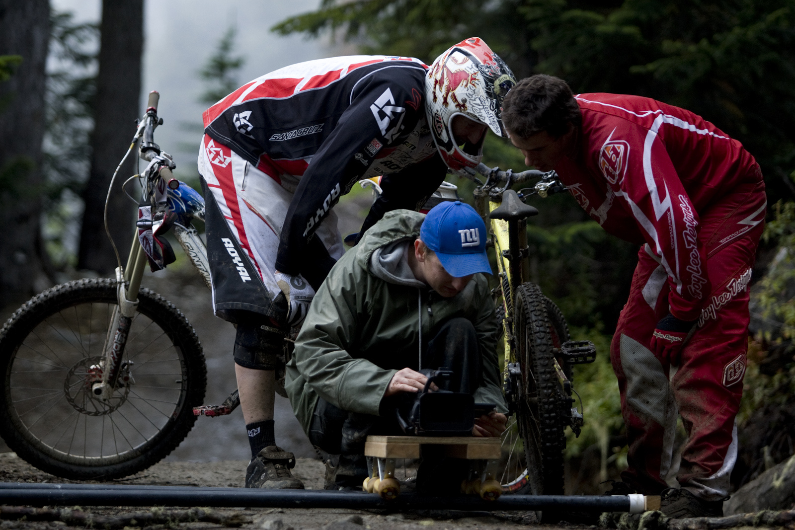 Checking the footage in Whistler