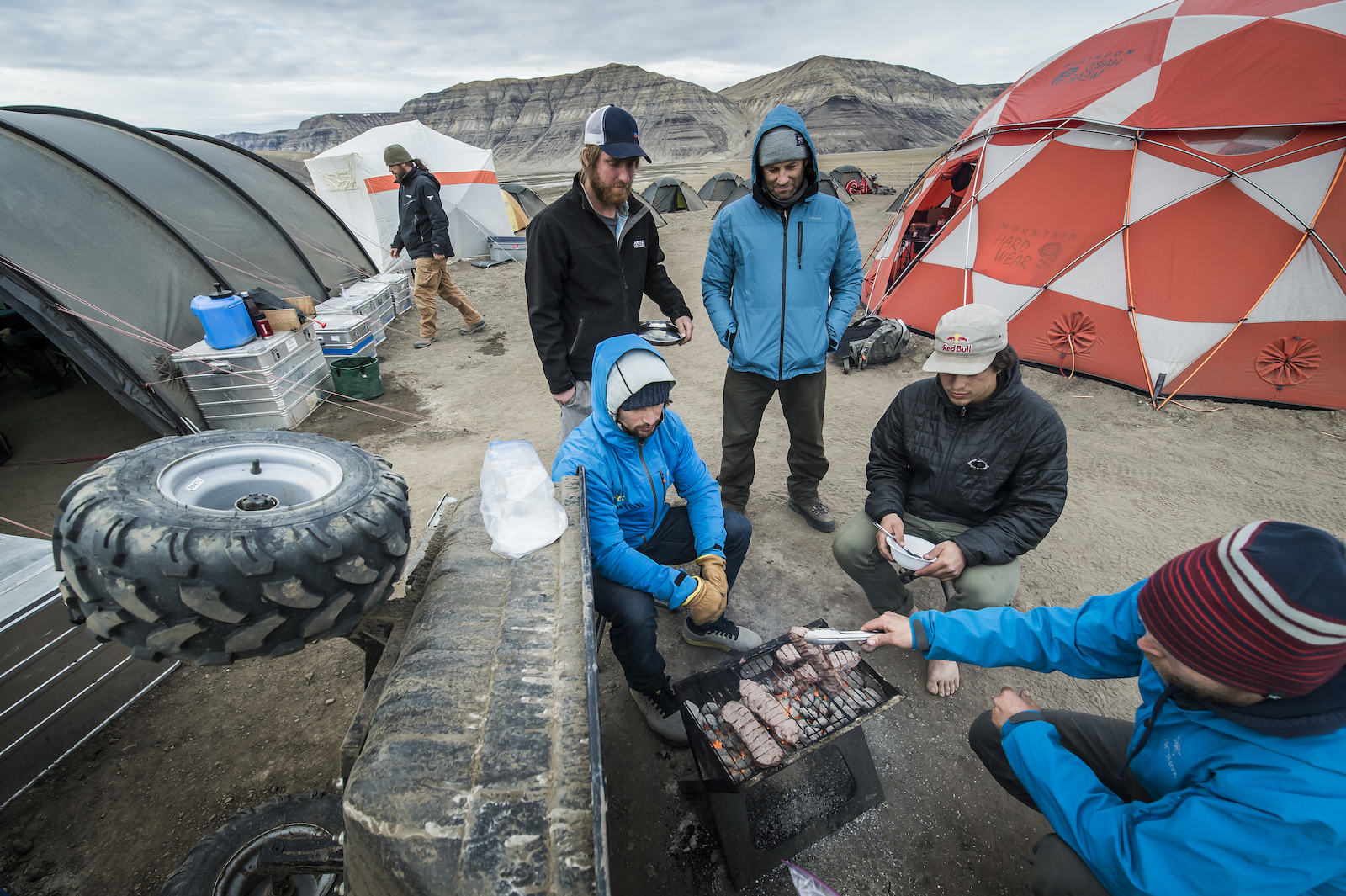 The crew slept in tents with blackout fabric to combat the 24-hour sun. Blake Jorgenson Red Bull Content Pool