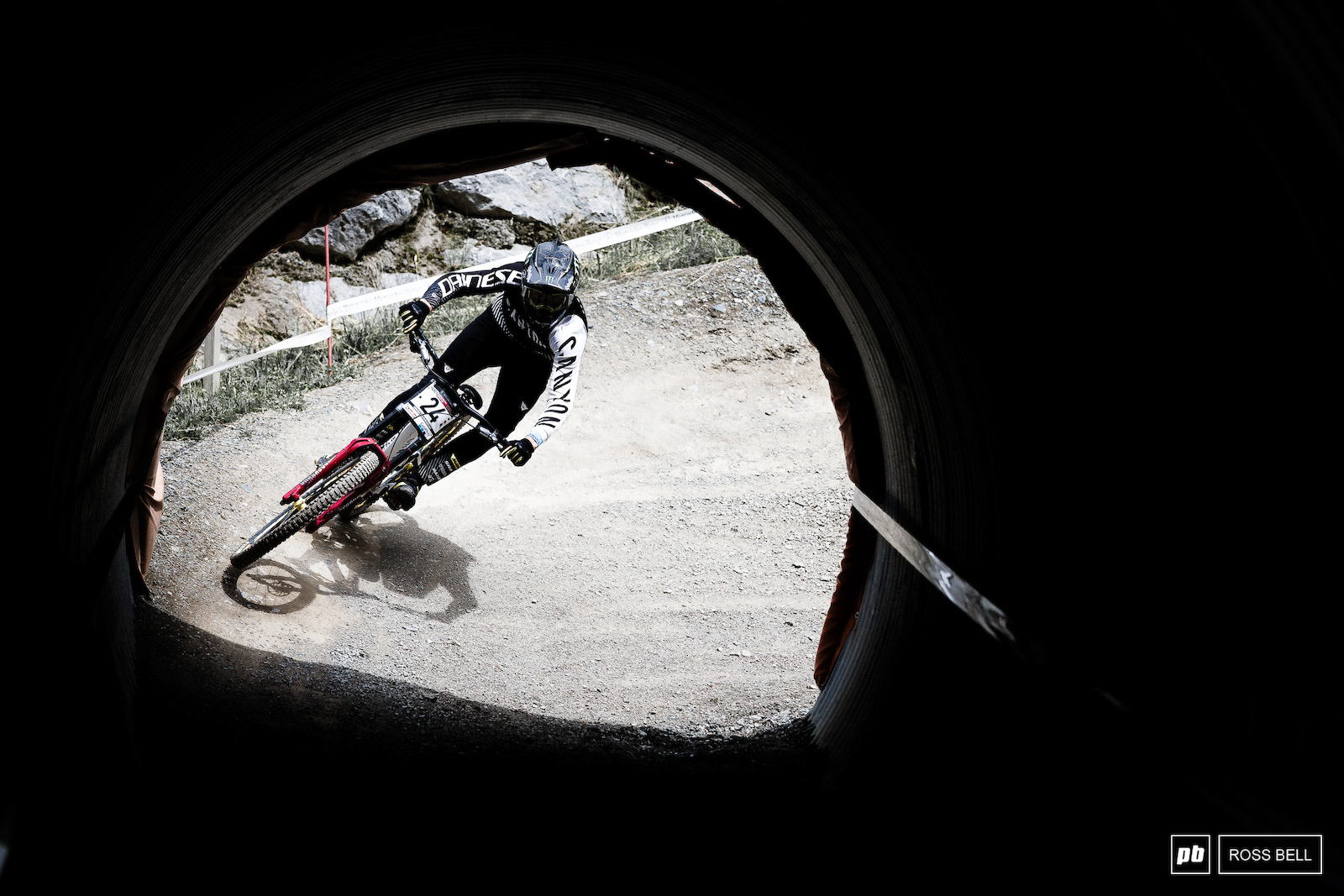 Mark Wallace popping into the shadows in one of the many Leogang tunnels.