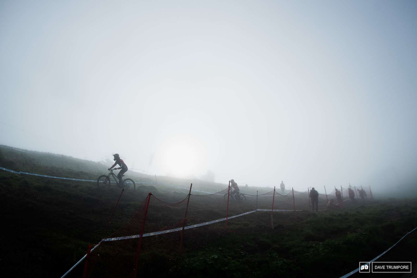 Riders in the fog at 8am.