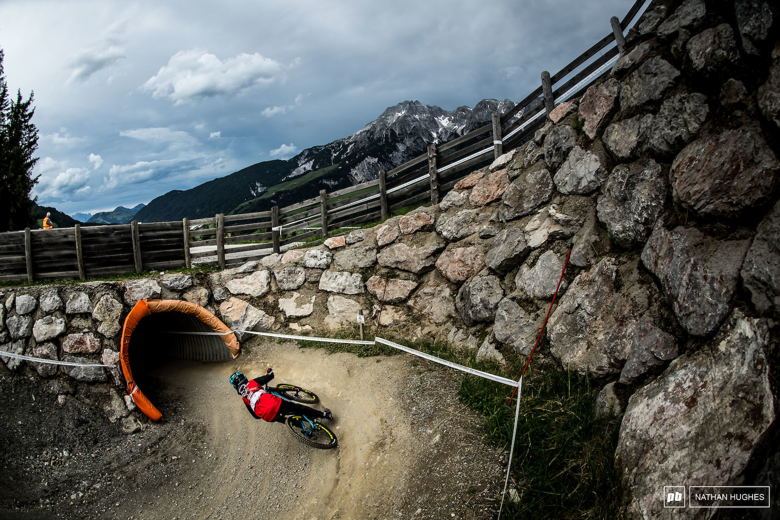 Emilie Siegenthaler hammering the berm into tunnel 2.
