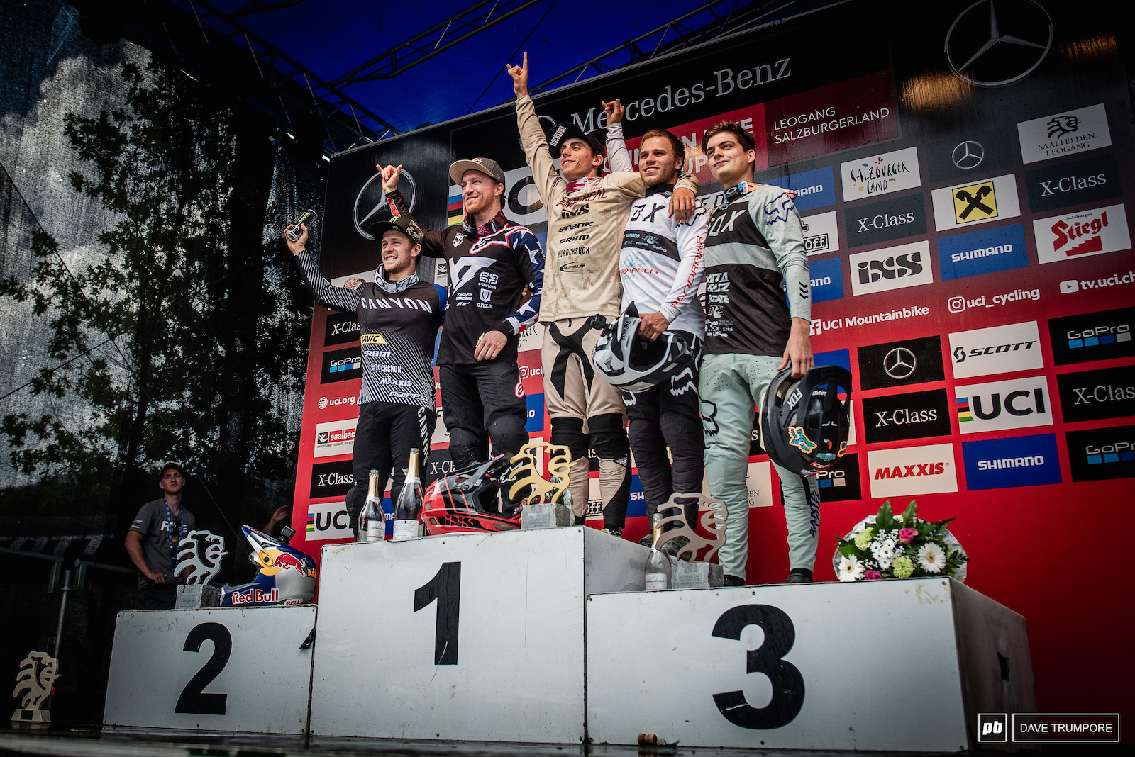 The fastest five men in Leogang with Amaury Pierron on the top step for the second week in a row.