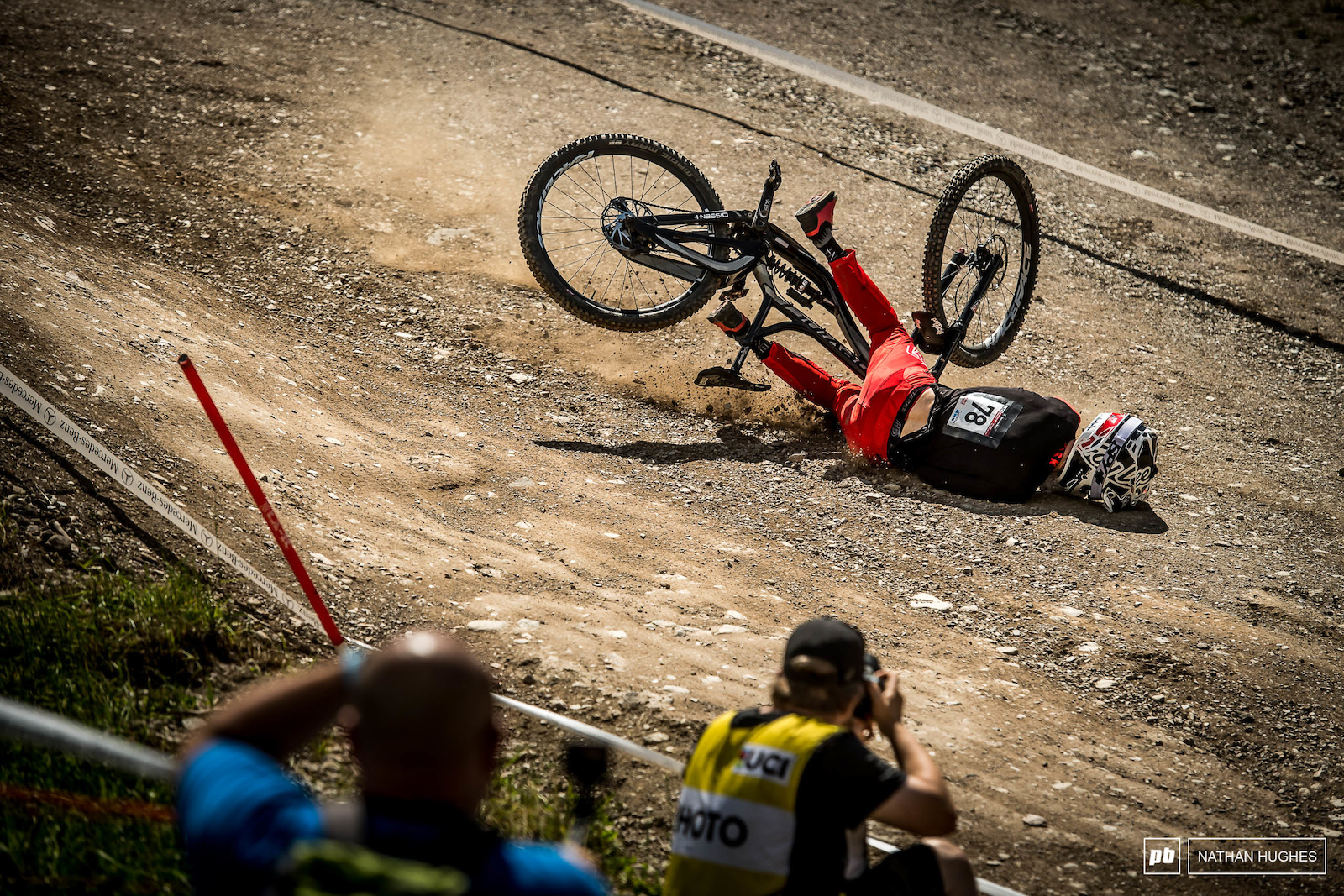Canadian national champ Kirk McDowall crashed off the shark fin before the finish area and it was a hard hit. Thankfully he walked away largely unscathed.