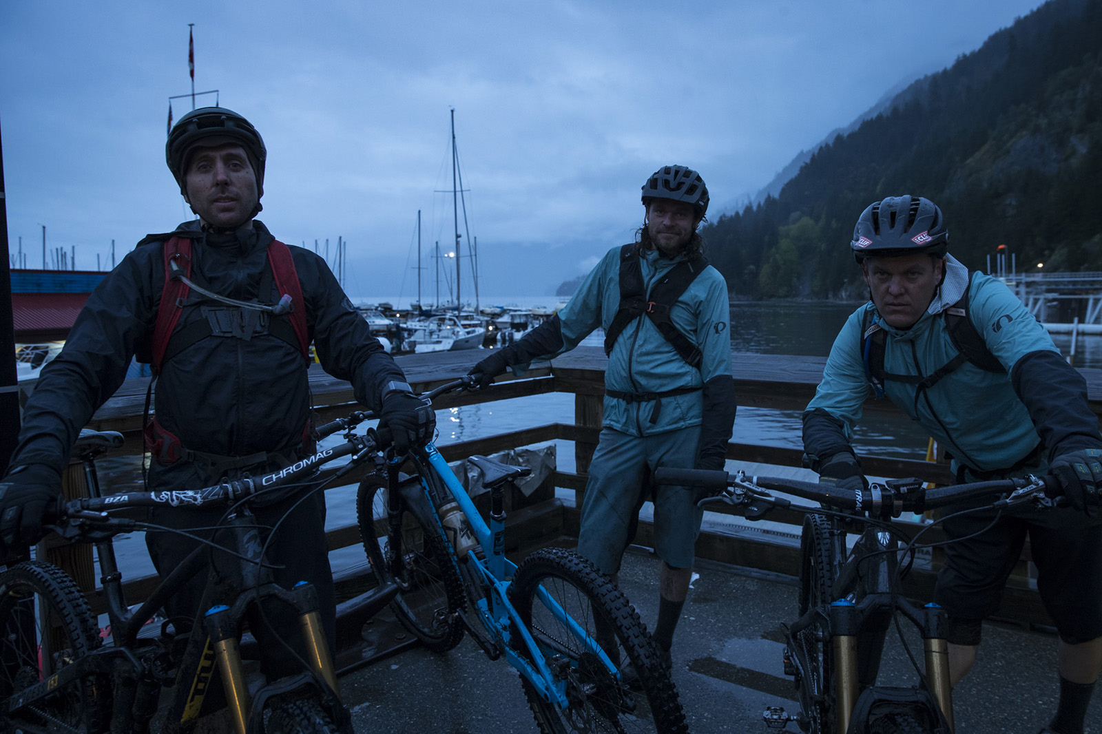 Andrew Shandro Joe Schwartz and Aaron Bradford complete the triple crown on Vancouver s North Shore BC.